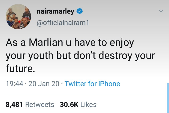 Naira Marley sends message of warning to all