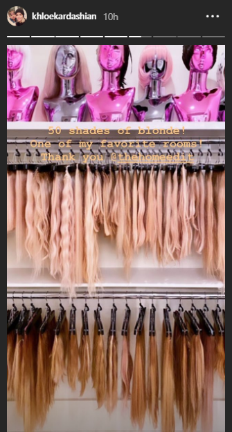 Khloe Kardashian shows off her weave closet that contains 50 shades of blonde hair extensions