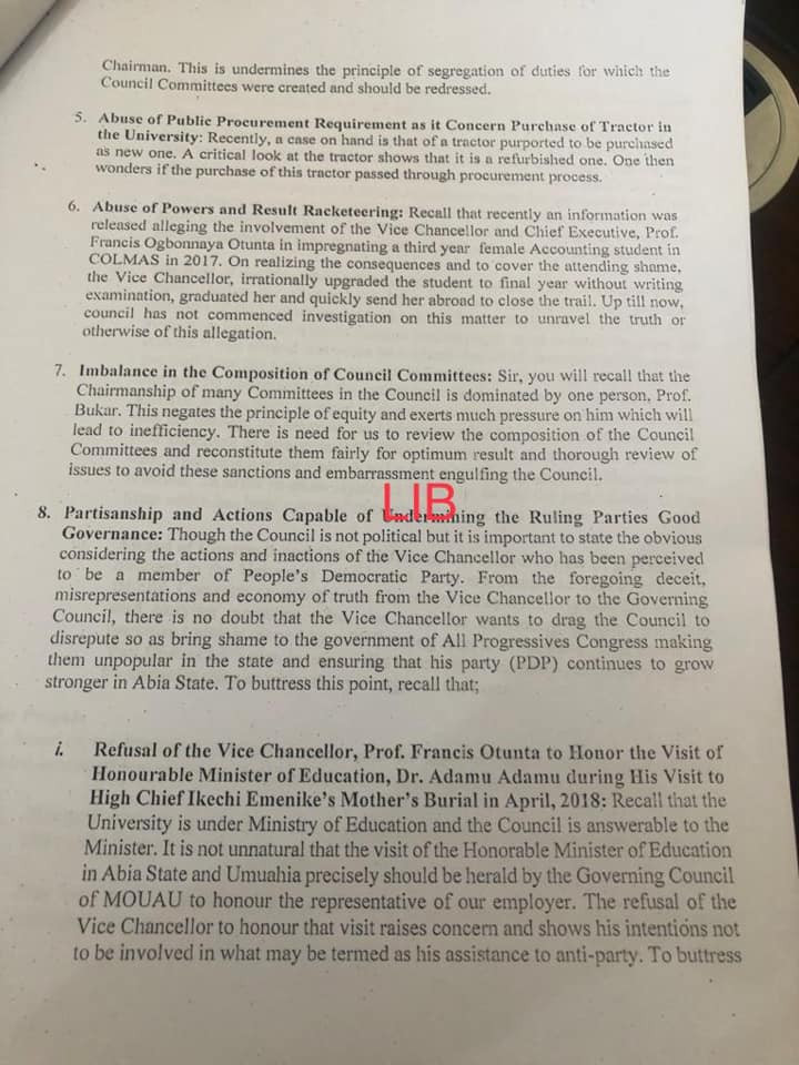 MOUAU Vice Chancellor, Prof Otunta accused of impregnating a third year student and upgrading her to final year status