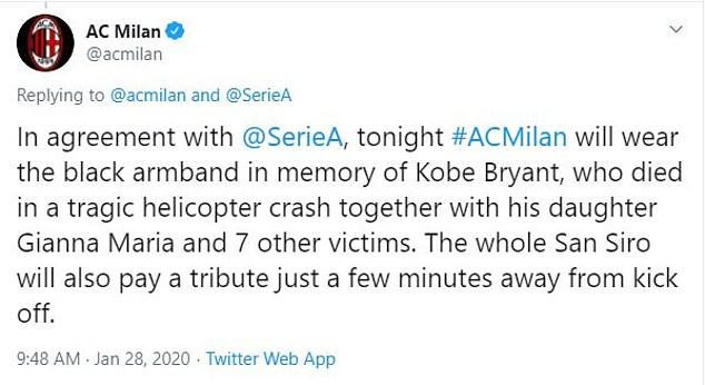AC Milan to honour boyhood supporter Kobe Bryant by wearing black armbands during Coppa Italia clash