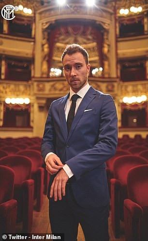 Christian Eriksen unveiled at the famous La Scala opera house after sealing ?17.5m move from Tottenham to Inter Milan (Photos)