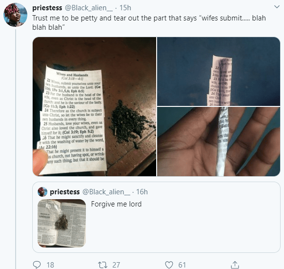 Woman Rips Out Bible Part Asking Wives To Be Submissive And Uses It To Smoke Weed