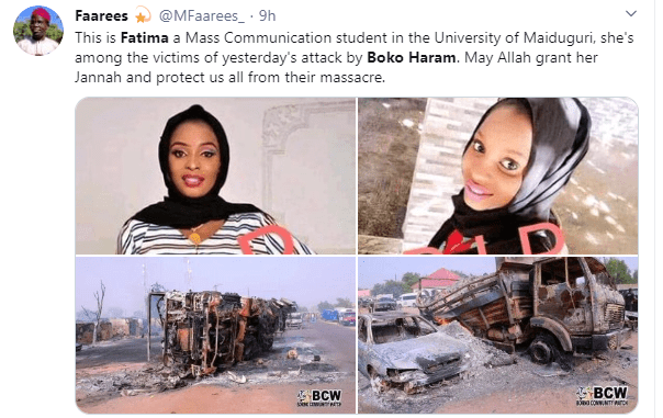 UNIMAID student burnt to death by Boko Haram