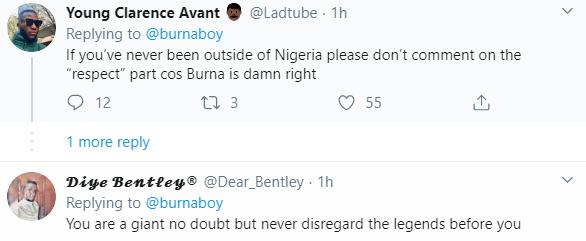 Nigerians react after Burna Boy says he