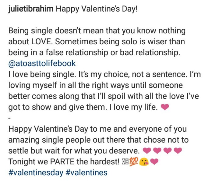 """I love being single. It?s my choice, not a sentence"" Juliet Ibrahim says in Valentine"