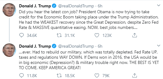 Obama is now trying to take credit for the Economic Boom under my Administration - Trump