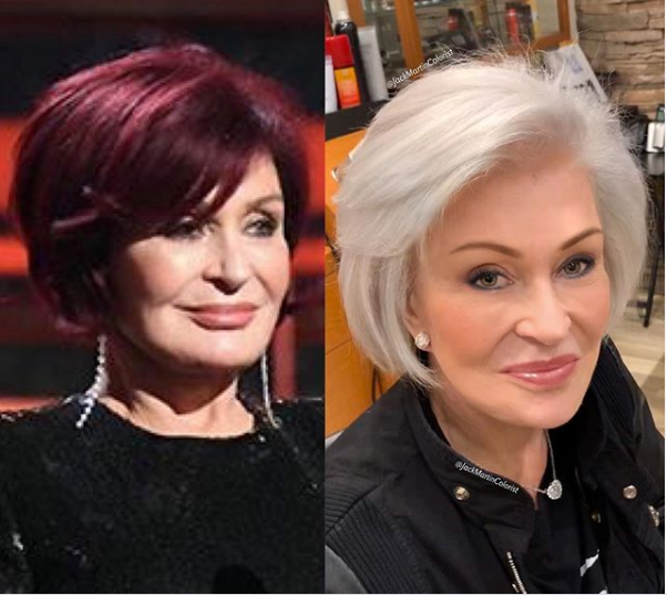 TV personality Sharon Osbourne trades her iconic red hair for