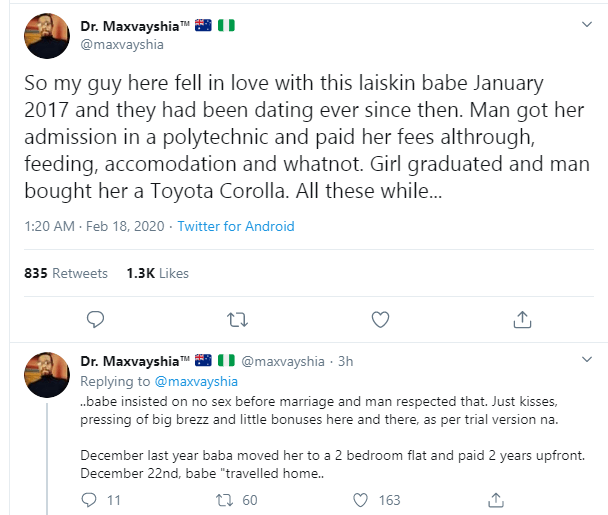 Twitter user recounts how his friend was dumped by a lady he trained in school, for a car electrician