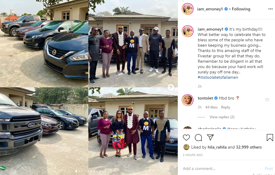 E-Money gives out cars to his staff on his birthday (photos)