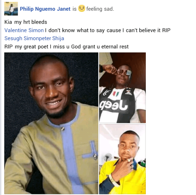 """""""Flex When You Have The Time"""" - Last words final year Benue State University student posted on Facebook hours before he was shot dead by cultists"""