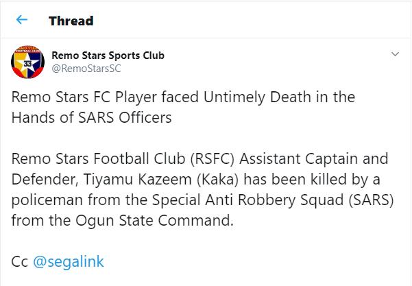 SARS officers allegedly kill Nigerian footballer Tiyamu Kazeem in Sagamu (Graphic video)