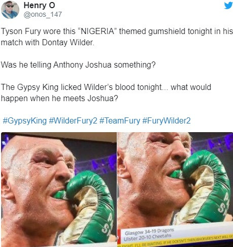 Tyson Fury sent a message to Nigeria and Anthony Joshua during his win over Wilder. Who noticed? (photos)