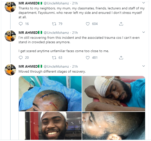 Nigerian man narrates how he survived an attack by robbers who gave him a machete cut on the head