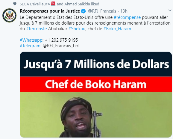 US Department of State offers $7m reward to anyone with information that will lead to Boko Haram leader, Abubakar Shekau