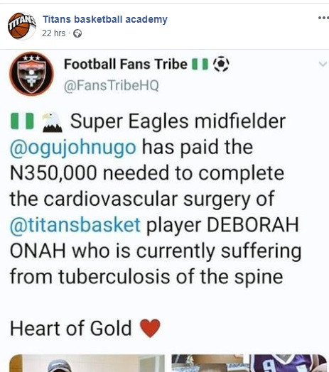 Super Eagles player John Ogu pays $1000 for treatment of Nigerian basketball player Debora Onah who