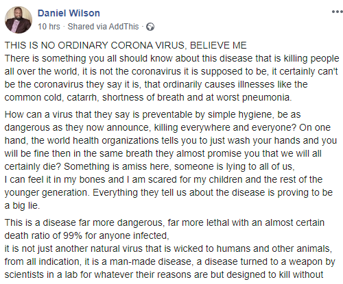 Ex-Singer Daniel Wilson questions the truth behind the Coronavirus pandemic; claims its a man made disease with Africa as the main target