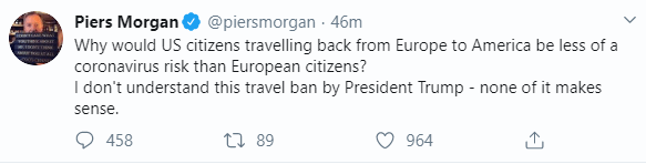 Piers Morgan criticizes Trump