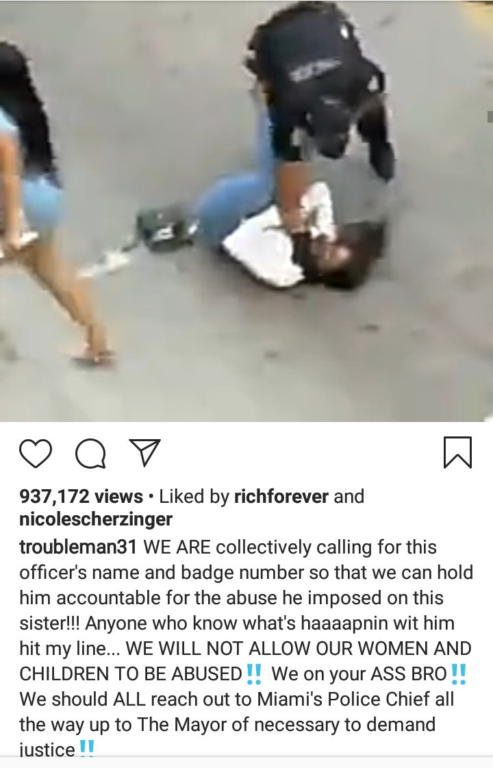 Miami police officer is seen attacking and choking a woman after she mistakenly bumped into him (video)
