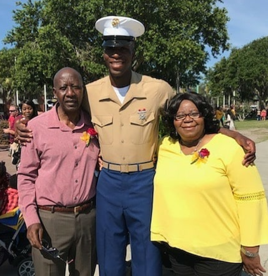 Nigerian mum meets her son, Abasiono Udofiah, a U.S. Marine, for the first time in over a year and her reaction is priceless (video)