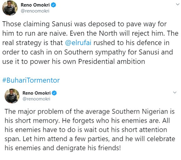 El-Rufai is using dethroned Emir of Kano, Sanusi Lamido Sanusi to push his presidential ambition ? Reno Omokri