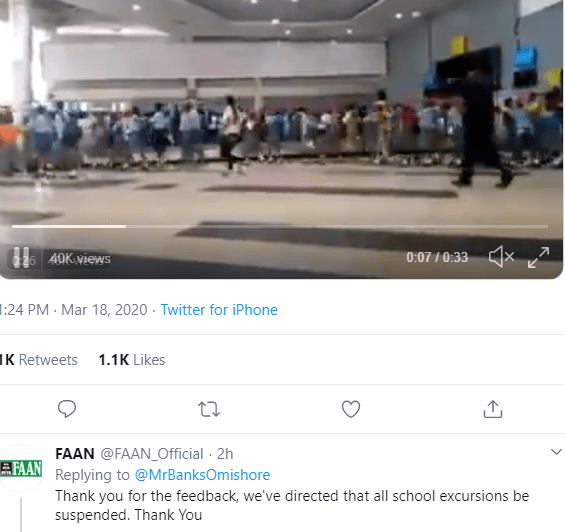 FAAN reacts after school takes students on an excursion to Abuja airport amidst Coronavirus outbreak