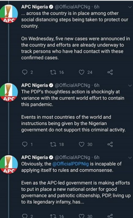 APC and PDP battle on Twitter over deadly Coronavirus pandemic