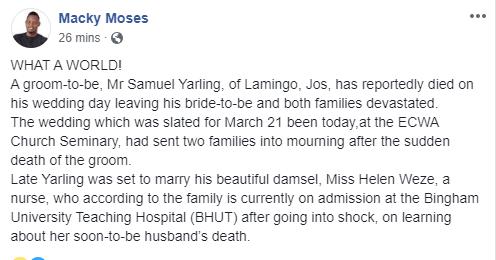Nigerian man dies on his wedding day