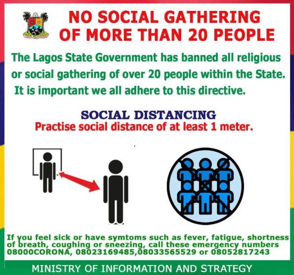 Lagos state government reduces approved number for social gathering from 50 to 20