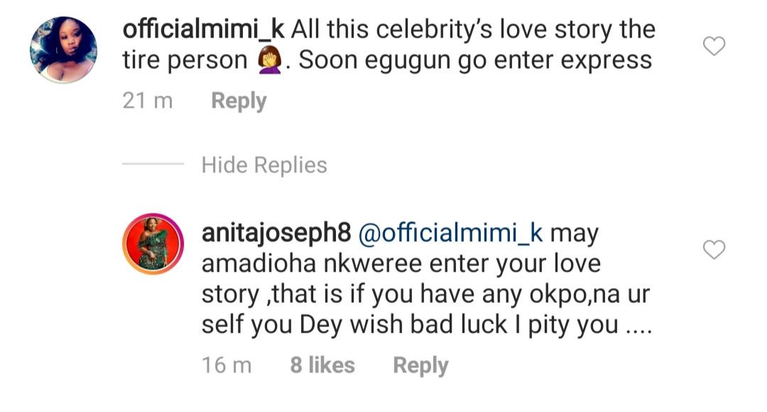 May amadioha Nkwere enter your love story - Anita Joseph slams trolls telling her to keep her man off social media