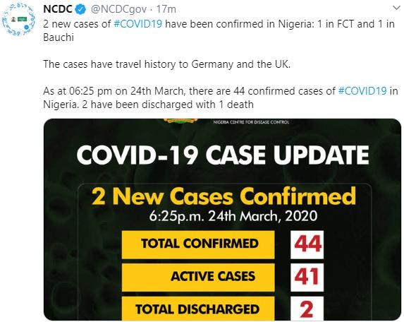 Three new cases of Coronavirus recorded in FCT, Ogun and Bauchi