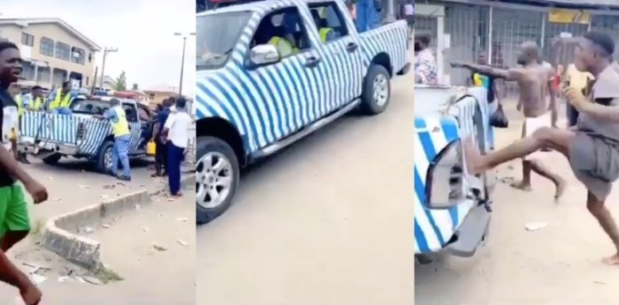 Angry Warri youths attack state taskforce team deployed to enforce the sit at home order (video)