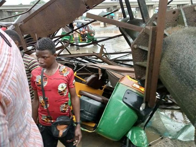 One dead as billboard falls in Aba (photos)