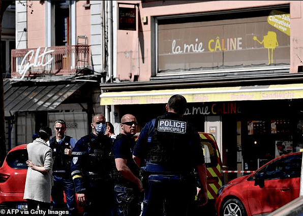Knifeman 'shouts Allahu Akbar' before stabbing two people dead and injuring 'at least seven others' outside a bakery in France