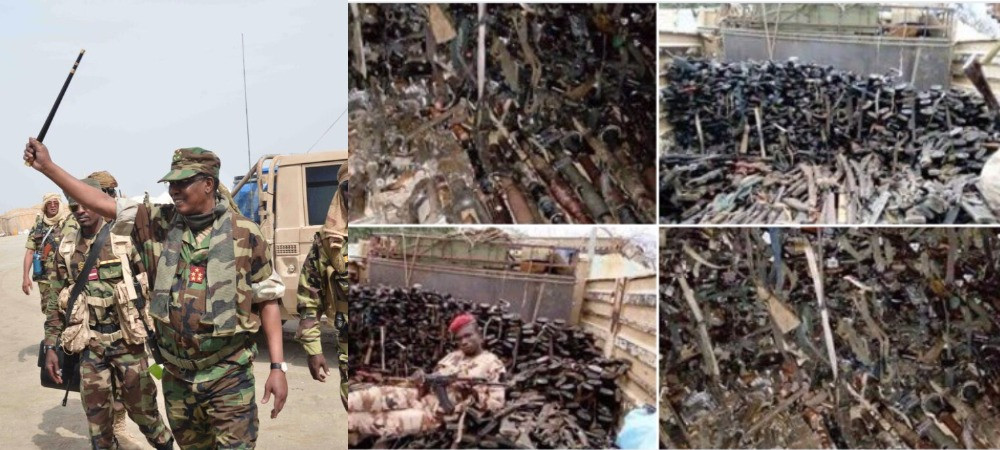Nigerian soldiers spotted hailing soldiers from Chad as their President lead them to war against Boko Haram, see stash of arms recovered (movies/pictures)