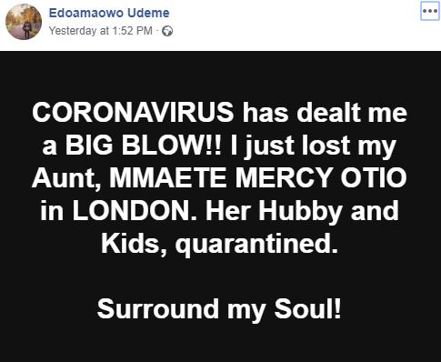 64-year-old Nigerian woman dies of Coronavirus in the UK