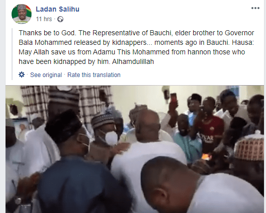Abducted brother of Bauchi governor regains freedom