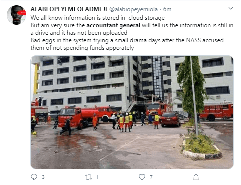 Nigerians react to the fire incident at the office of the Accountant General of the Federation