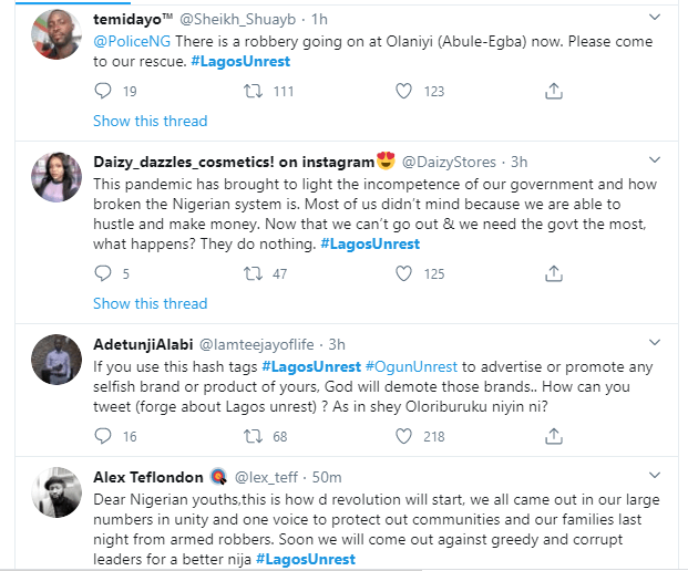 #Lagosunrest trends as residents of Lagos take to the street defend themselves against robbers amid lockdown over Coronavirus (videos/photos)