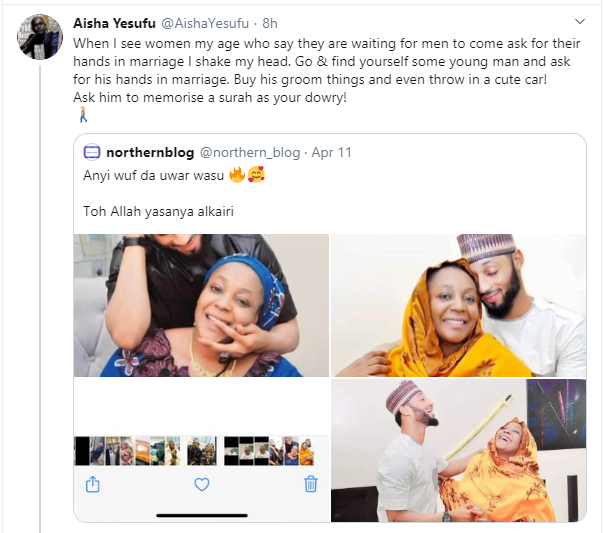 I shake my head when I see older women waiting for men to come ask for their hands in marriage - Activist Aisha Yesufu