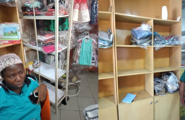 Lady left in tears after her shop was vandalized by hoodlums amid Coronavirus lockdown in Lagos (photos)