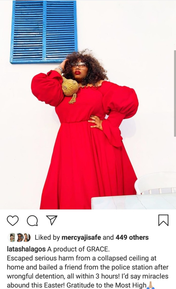 Latasha Ngwube escapes harm as her ceiling collapses and destroys her bathroom just as she was about to take a shower (video)