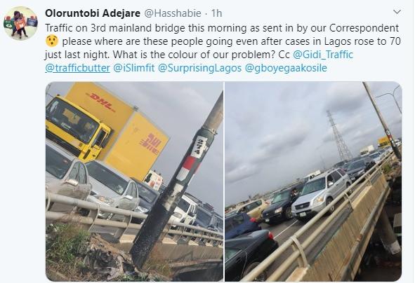 Heavy traffic on Third Mainland Bridge despite lockdown in Lagos