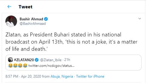 Presidential aide, Bashir Ahmad cautions singer Zlatan