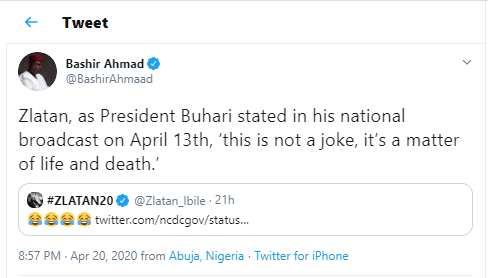 ?This is not a joke? - Presidential aide, Bashir Ahmad cautions singer Zlatan for