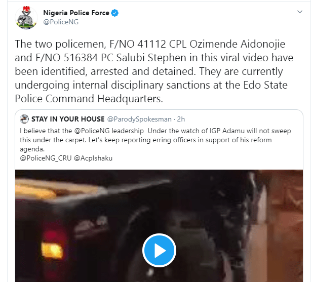 Policemen seen fighting each other in Edo State have been arrested