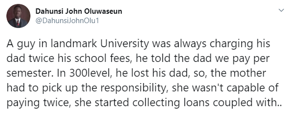 Twitter tales: Nigerian mum left in shock after discovering her son in a private university had been defrauding her by collecting double his tuition fee