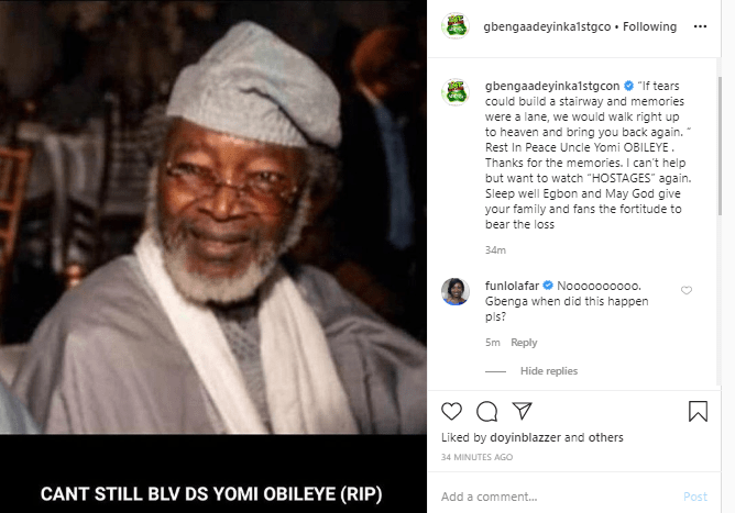 Veteran Actor, Yomi Obileye Is  Dead