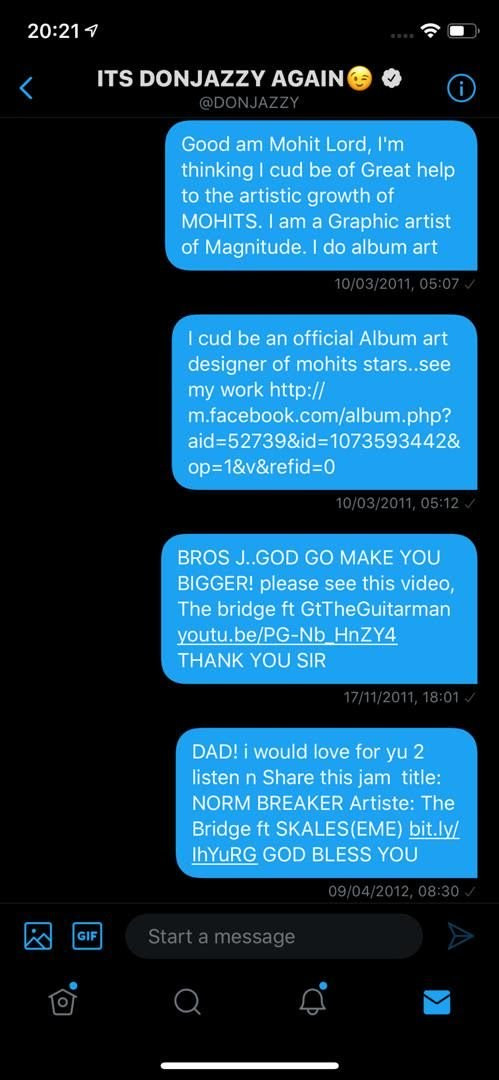 Adekunle Gold shares the DMs he sent to Don Jazzy 9 years ago to beg for a job as a graphics artist