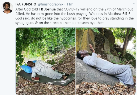 ''He is self isolating'' Twitter users react to photos/Video of Prophet TB Joshua praying on a mountain against Coronavirus