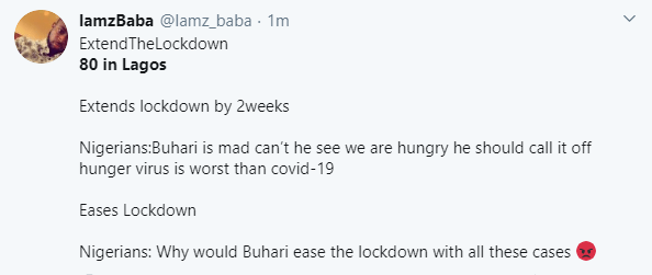 #Extendthelockdown trends as Nigerians react in shock to 195 new cases of Coronavirus recorded on Tuesday